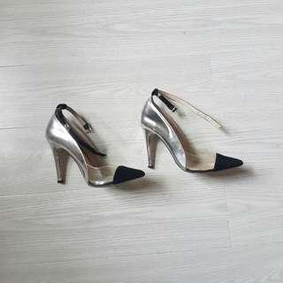 Wittner Silver Black Perspex Heels
