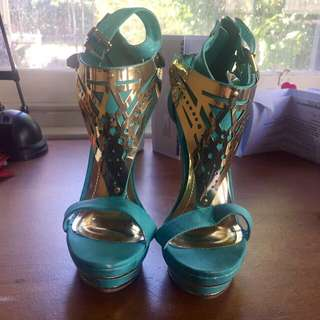Green Teal turquoise golden goddess high heels with patterns, Size Au6.5/EU37