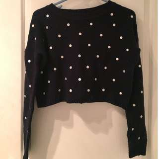 Navy blue and white polka dot cropped jumper