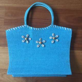 Blue Paper Straw Bag