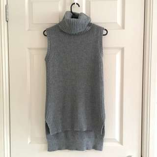 Grey Sleeveless Turtleneck Top