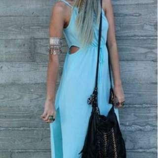 Size 10 Maxi Blue Cut Out Dress