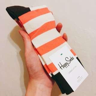 【全新】Happy Socks 粉米色條紋長襪