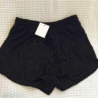 Black floral Lace Shorts