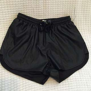 Leather Look Shorts With Draw String