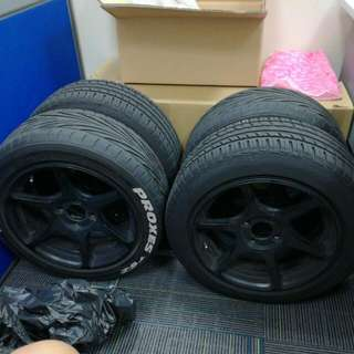"Replica 15"" Buddy Club Rims With Tyres"
