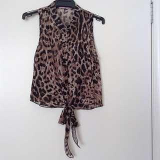 Leopard Print Tie Front Top