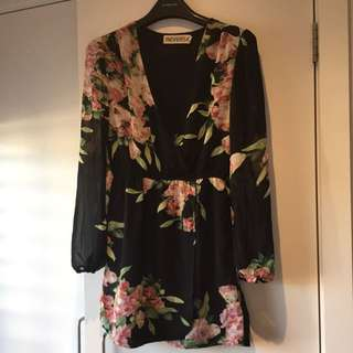 Showpo Black Flora Print Dress