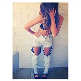 KASABE High waisted Distressed Faded Jeans