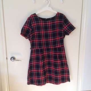 Plaid Smock Tshirt Dress