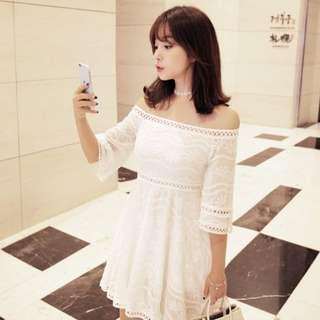 《韓國正品直送》春季新貨 純白一字領露肩洋裝 婚禮渡假風