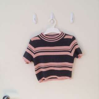 Valleygirl Striped Crop Top Pink Grey
