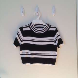 Valleygirl Striped Crop Top Black White