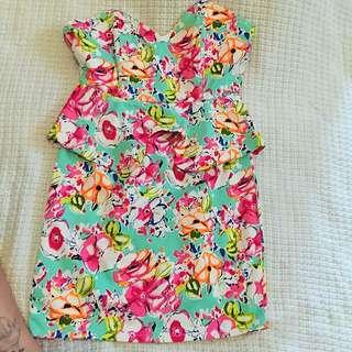 Floral Strapless Peplum Dress