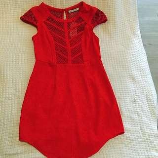 Red Mini Dress Capped Sleeve