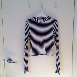 Striped Mock Turtleneck Crop Top