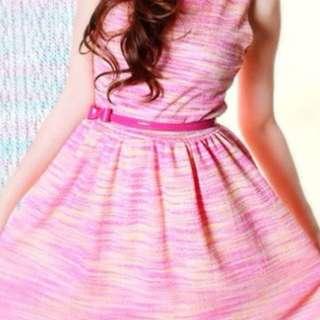 Lara J Pink & Blue Pastel Dress