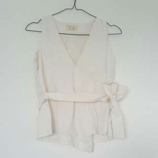 Schon Couture White Bow Shirt