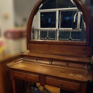 Antique Vintage Wood Dressing Table With Mirror And Drawers