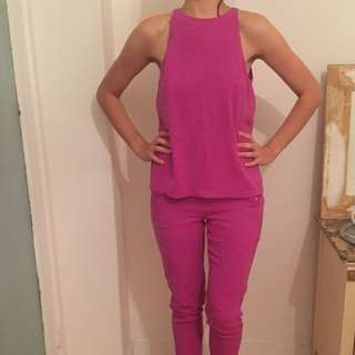 Hot Pink Life With Bird Jumpsuit Size 8/10