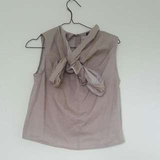 Clementine Bow Shirt Grey