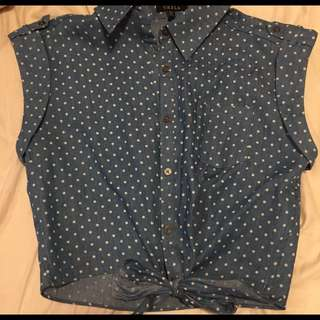 Polkadot Denim Tie-up Top