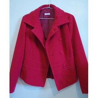義大利Max&Co.完美剪裁正紅色羊毛外套