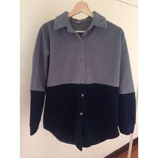 ✨二手衣物✨ 拼接寬鬆絨襯衫