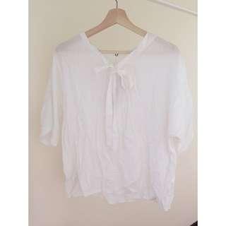 ✨二手衣物✨ V領 五分袖 寬鬆雪紡衫