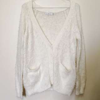 Quirky Circus Fluffy White Cardigan Size 10