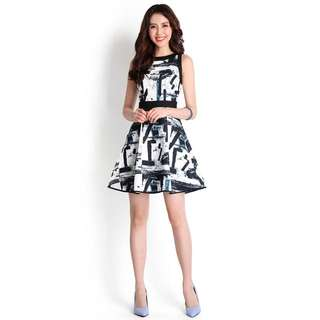 Lilypirates  Pursuit Of Happiness Dress In Black Abstract Size S