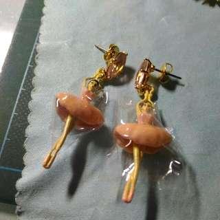 二手 Les Nereides 粉色芭蕾 耳環 可議價