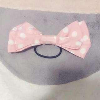 粉紅色 白點點 大蝴蝶結 髮飾 髮圈