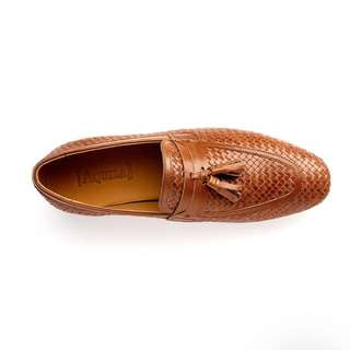 Aquila Tan Leather Woven Loafer Size 45/44