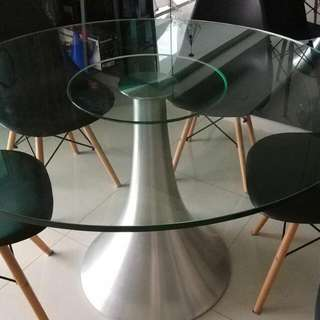 Dining Round Glass Table 4 Feet Tempered Glass