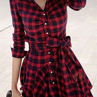 Red checkered dress with belt