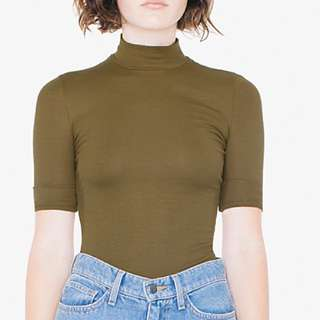 American Apparel Ribbed Mock Neck Short Sleeve