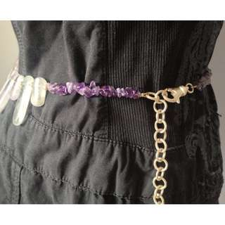 Amethyst and Silver Belt - Festival Style - Modern Up cycle- Made in Canada