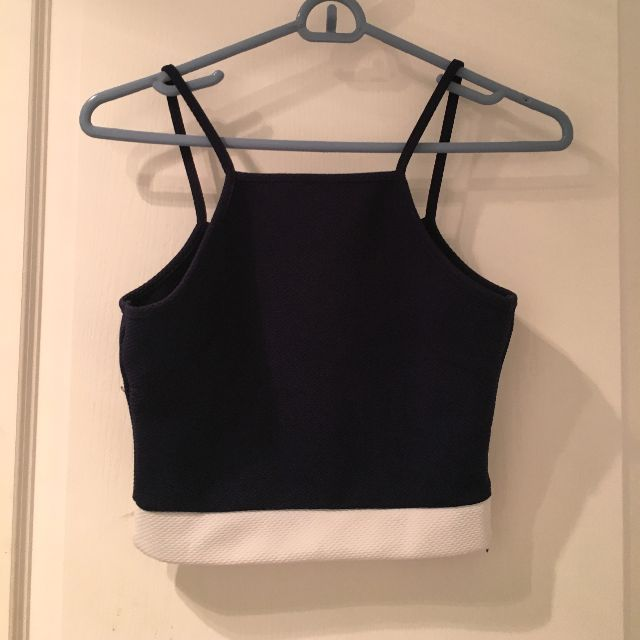 2in1 Navy/white & White/black cropped top
