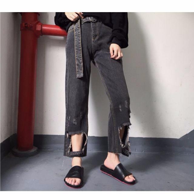 方形破洞高腰直筒褲