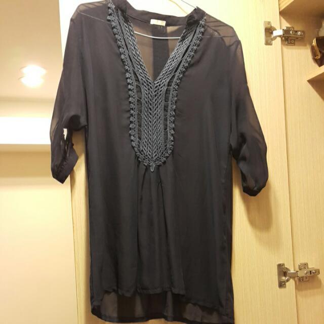 韓版深藍色雪紡襯衫