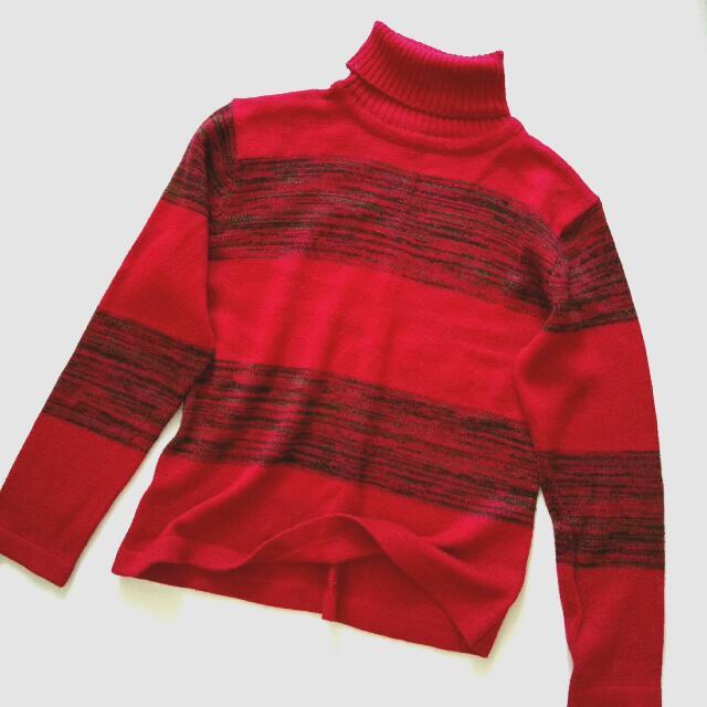 條紋高領復古毛線衣紅