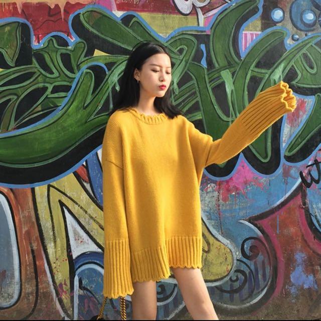 可愛 黃毛衣。附實穿