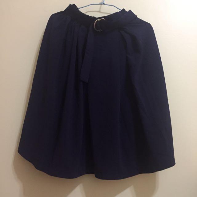 藏青半身裙 有腰帶