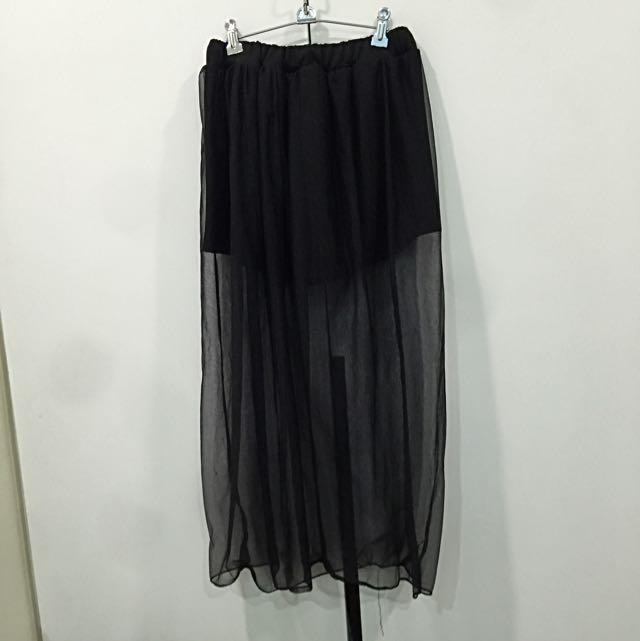 特色網紗外襯 褲裙(黑)