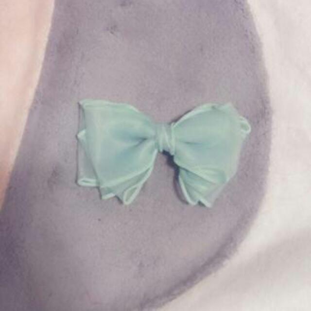 藍綠色 蝴蝶結 髮夾