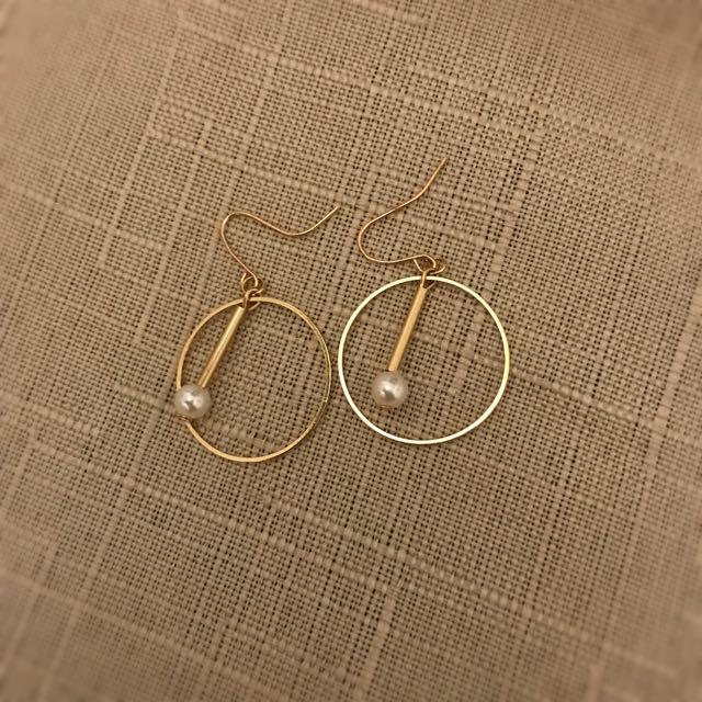 🔹氣質 金色 珍珠 耳環