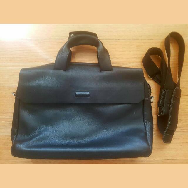 Bally Black Leather Satchel Authentic