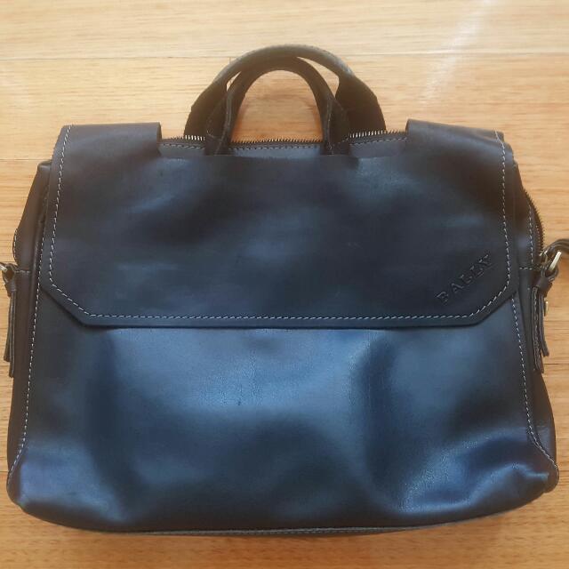 Bally  Lack Leather Satchel Bag