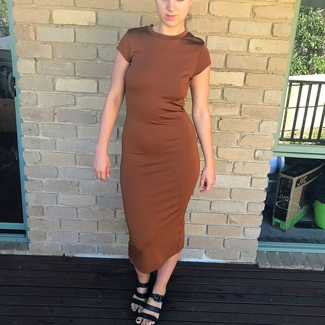 Bardot Brown Dress midi